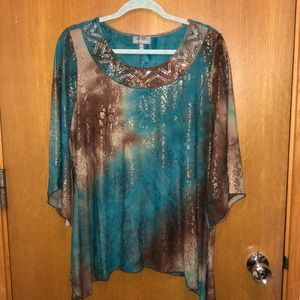 Essentials brand blouse with beaded neckline, 0X